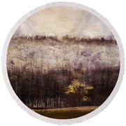 Gold Leafed Tree In Snow Round Beach Towel