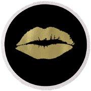 Gold Lips Kiss Round Beach Towel