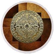 Gold Mayan-aztec Calendar On Brown Leather Round Beach Towel
