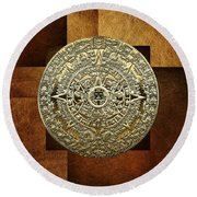 Gold Mayan-aztec Calendar On Brown Leather Round Beach Towel
