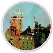 Round Beach Towel featuring the photograph Gold Medal Flour Pop Art by Susan Stone