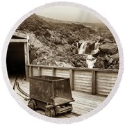 Gold Mine Entrance In Sepia Round Beach Towel
