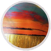 Gold Moon Reflection Round Beach Towel by Carolyn Repka