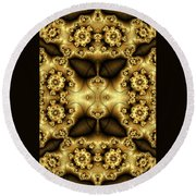 Gold N Brown Phone Case Round Beach Towel