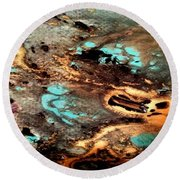 Gold N Turquoise Round Beach Towel