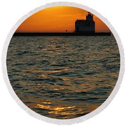 Gold On The Water Round Beach Towel