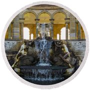 Gold Over Fountain Round Beach Towel