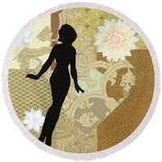 Gold Paper Doll Round Beach Towel