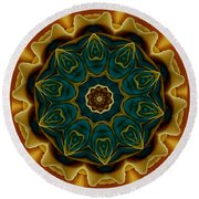 Gold Rose Mandala Round Beach Towel