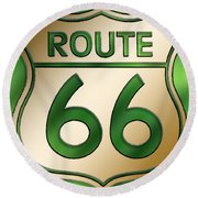 Round Beach Towel featuring the digital art Gold Route 66 Sign by Chuck Staley