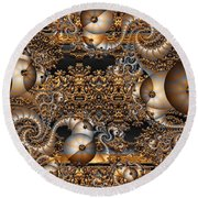 Round Beach Towel featuring the digital art Gold Rush by Robert Orinski