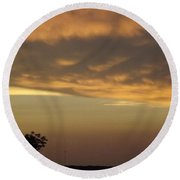 Round Beach Towel featuring the photograph Gold Sky Over Lake Of The Ozarks by Don Koester