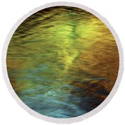 Round Beach Towel featuring the photograph Gold To Blue by Kenneth Campbell