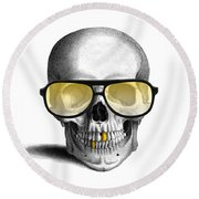 Skull With Gold Teeth And Sunglasses Round Beach Towel
