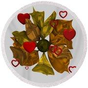 Round Beach Towel featuring the digital art Golde Flower With Love by Alberto RuiZ