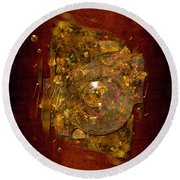 Golden Abstract Round Beach Towel