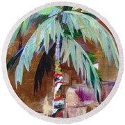 Golden Amethyst Palm Round Beach Towel