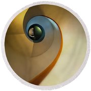 Golden And Brown Spiral Staircase Round Beach Towel