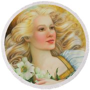 Golden Angel Round Beach Towel