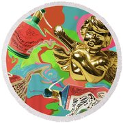 Golden Angel With Party Poppers Round Beach Towel