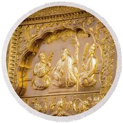 Golden Art At Sri Harmandir Sahib Round Beach Towel
