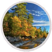 Golden Autumn Light Nh Round Beach Towel