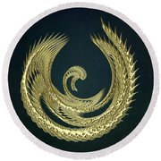 Golden Baby Swan Abstract Round Beach Towel