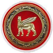 Golden Babylonian Winged Bull  Round Beach Towel
