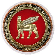 Golden Babylonian Winged Bull  Round Beach Towel