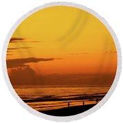 Golden Beach Sunset Round Beach Towel
