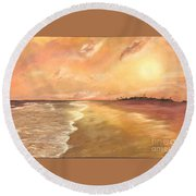 Golden Beach Round Beach Towel by Vanessa Palomino