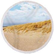 Golden Beach Walk Round Beach Towel by Kathi Mirto
