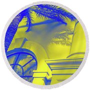 Golden Beryl And Blue Sapphire - Jewel Colored Palm And Window Round Beach Towel