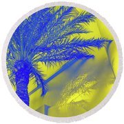 Golden Beryl And Sapphire - Jewel Colored Palm Round Beach Towel
