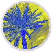 Golden Beryl And Sapphire - Jewel Colored Palms Round Beach Towel