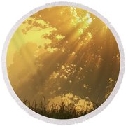 Golden Blessings Round Beach Towel