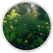 Golden Blooms Round Beach Towel