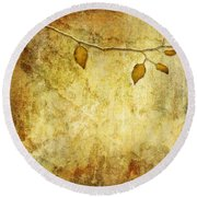 Golden Branch Of Hope  Round Beach Towel