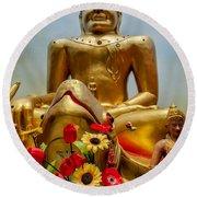 Flowers For Buddha  Round Beach Towel