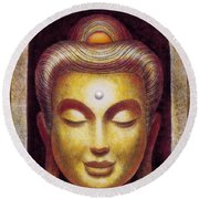 Round Beach Towel featuring the painting Golden Buddha by Sue Halstenberg