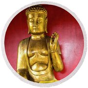 Golden Buddha With The Pearl Of Wisdom Round Beach Towel