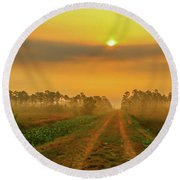 Golden Canal Road Round Beach Towel