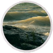 Golden Capped Sunset Waves Of Lake Michigan Round Beach Towel