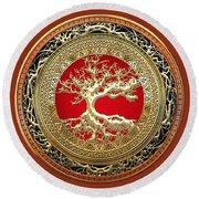 Golden Celtic Tree Of Life  Round Beach Towel
