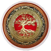 Golden Celtic Tree Of Life  Round Beach Towel