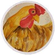 Golden Chicken Round Beach Towel by Maria Urso