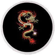 Golden Chinese Dragon Fucanglong On Black Silk Round Beach Towel