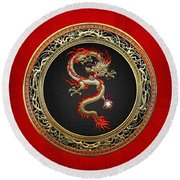 Golden Chinese Dragon Fucanglong On Red Leather  Round Beach Towel by Serge Averbukh