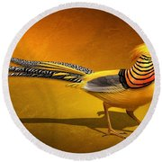 Round Beach Towel featuring the digital art Golden Chinese Pheasant by John Wills
