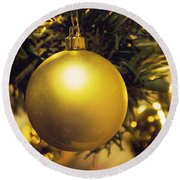 Golden Christmas Ornaments Round Beach Towel
